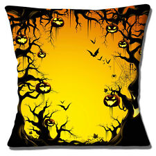 "NEW HALLOWEEN WOODLAND PUMPKIN LANTERNS  BATS TREES 16"" Pillow Cushion Cover"