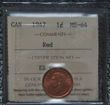 1947 CANADA - 1 CENT - Red - ICCS Graded MS 64 - Nice - NCC