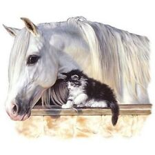 Horse (White) with Kitten on ONE 16 inch square Fabric Panel to Sew.