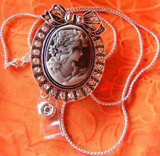 Victorian Cameo Lady Jeweled Name Tag ID Badge Key Keeper Reel Holder Necklace