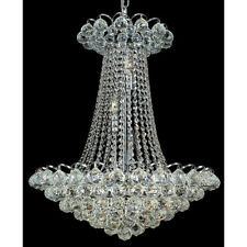 "Palace Blossom 28"" 13 Light Crystal Chandelier Light - Chrome lighting Fixture"