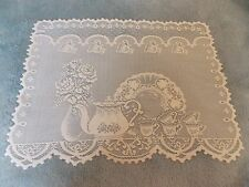 HERITAGE LACE IVORY TEACUP SET OF 4 PLACEMATS NWOT ITEM 100A
