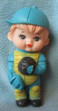 """VINTAGE SQUEEZE TOY ADORABLE BASEBALL CATCHER BOY 6"""" FIGURE, Squeeze Works Fine"""