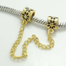 1PCS gold Stopper Locks Beads Clip Safety Chain To Fit Charm Bracelet SH136