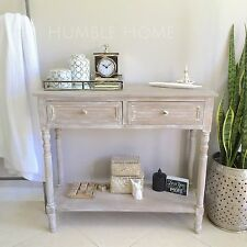 White Wash Console with Two Drawers/Hall Table/Hampton's Style/French Provincial