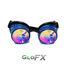 GloFX Glow Blue Kaleidoscope Padded Goggles Steampunk Gothic EDM Party Glow Rave