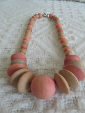 "Graduated Wood Bead Necklace in Pink - Orange & Beige - 19.5"" long"