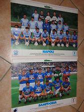 2 MAXI POSTER 81 X 54 ROSA NAPOLI 1988-89 ROSA SAMPDORIA 1988-1989