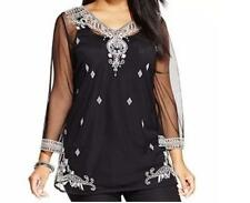 Women's Evening party Wedding Black Embroidered 2PC set tunic top Blouse plus 2X