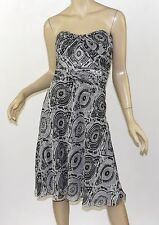 WHITE HOUSE BLACK MARKET Paisley Print Gathered Bust Chiffon Strapless Dress S 6