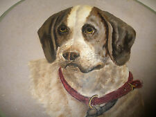"LARGE 14"" ANTIQUE 1800`s FOLK ART HAND PAINTED DOG PAPER MACHE PAINTING PLATE"