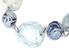 Bracelet Bleu Ciel et Bleu Nuit  Verre dépoli et cristal