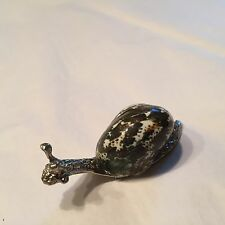 Vtg Souvenir Snail Slug Figure Cast Silvertone Body W/ Real Sea Shell Top 2 1/2""