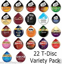 22 x Tassimo Variety Sample Coffee, Tea, Choco T-disc, 22  x  Assorted Flavours