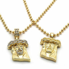 Men Gold Plated Jesus Piece Combo Set Iced Out Cz & Plain Pendant Chain Necklace