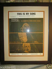 Professionally Framed Charles/ Charlie Chaplin This is My Song Sheet Music
