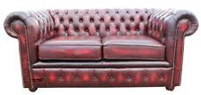 Brand New Chesterfield 2 Seater Antique Oxblood Real Leather Sofa Settee Couch