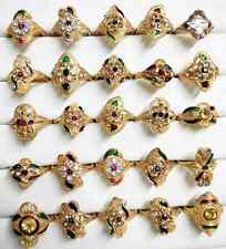Wholesale Lot of 25pc Colorful Indian Pakistani 24k GoldPlated Brass Ring 16-19m