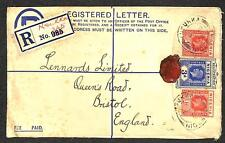 NIGERIA SCOTT #19 STAMPS H&G #2 REGISTERED LETTER STATIONERY TO ENGLAND 1929