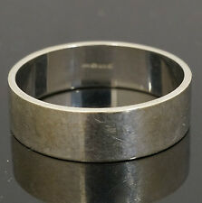 9Carat White Gold Plain Flat Profile Wedding Ring / Band (Size V) 6mm Width