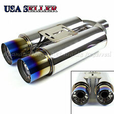 "FOR BIMMER!1X N1 STYLE SPORT DEEP TONE RACE DUAL 3.5"" EXHAUST MUFFLER+BURNT TIPS"