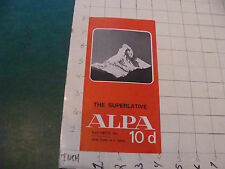 Original Camera booklet/brochure: ALPA 10d THE SUPERLATIVE karl heitz--1970