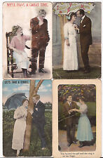 Antique Romantic American 4 postcards with Yiddish message d.1917 Conn.