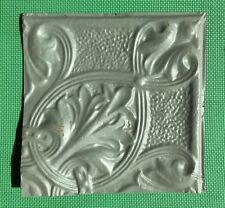 """12"""" Antique Tin Ceiling Tile - Grayish Green Colored Paint - Pretty Design  - A1"""