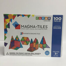 Magna Tiles 100 Piece Clear Colors 3D Building Set Valtech Brand New Free Ship