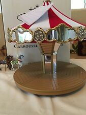 2004 Hallmark Carousel Ride 2 Horses Lights Xmas Keepsake Ornament Display MIB