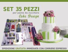 STAMPINI PASTA DI ZUCCHERO SET 35 STAMPI ATTREZZI DECORARE TORTE CAKE DESIGN