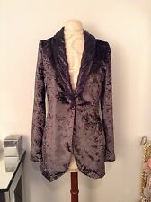 CUSTO BARCELONA Women Purple Velour Velvet Blazer SZ 40 EU SZ 6 US