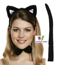 Accessorio Costume Gatto Set Orecchie Papillon Coda Halloween Head Band Costume Sexy