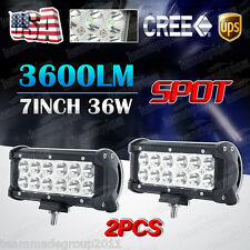 2x 7INCH 36W CREE LED WORK LIGHT BAR SPOT OFFROAD LAMP 4WD ATV DRIVING SUV FLOOD