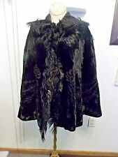 Vintage Black Velvet Brocade Cape Edwardian Mourning