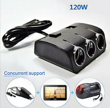 3 Way DC 12V /24V Car Cigarette Lighter Socket Splitter Dual USB Charger Adapter