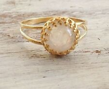 14k Yellow Gold Filled COCKTAIL  RING 8mm MOONSTONE gemstone size 5,6,7,8