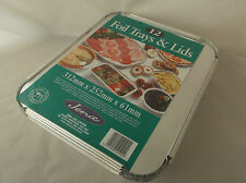 JENA 12 x Extra Large Tin Foil Party Food Trays with Lids  NEW