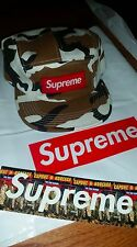 FW16 Supreme 5 Panel Brown Camo Olive Camp Cap S Burgundy Suede Box Logo Black