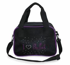 Girls Soft Dance Bag I Love Ballet Hologram Design Black/Purple Roch Valley