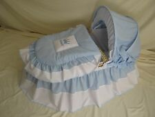 'PRINCE' MOSES BASKET COVER SET BLUE AND WHITE BY BABYFANZONE