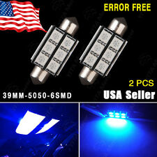 2X Error Free Canbus Hyper Blue LED License Plate Light Bulbs 39MM 5050 6-SMD US