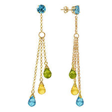 5.75 CTW 14K Solid Gold Chandelier Earrings Blue Topaz, Citrine