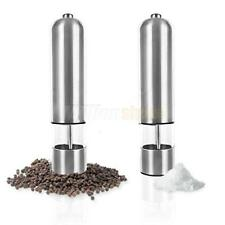 2PCS Stainless Steel Electric Automatic Pepper Mill Salt Grinder Silver US Store