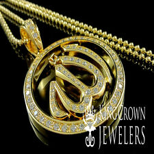 YELLOW GOLD FINISH LAB DIAMOND ARABIC ALLAH GOD CHARM PENDANT CHAIN NECKLACE SET