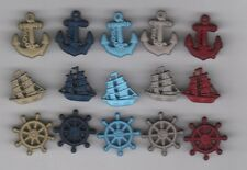 Novelty Theme Ship Buttons/Anchor/Wheel-Buttons Galore-Shank/Flat Back-15 Pieces