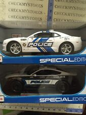 2 new Maisto 1:18 Scale 2010 Chevy Camaro SS Police,2015 Ford Mustang GT Police