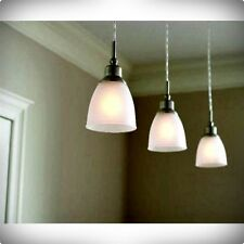 (3-PACK) BRUSHED NICKEL MINI PENDANT FROSTED SHADE LAMP LIGHT FIXTURE KITCHEN