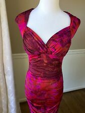 Boston Proper Size 6 NWOT Red Purple Marble Ruched Dress