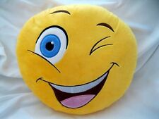 "12"" Winking Emoji Pillow Yellow Round Cushion Soft Emoticon Stuffed Plush Toy"